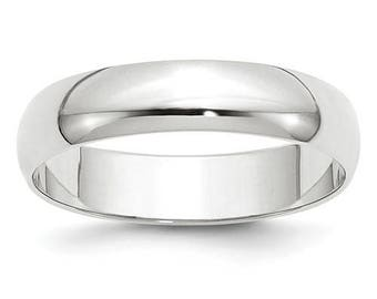 New 14K Solid White Gold 5mm Men's and Women's Wedding Band Ring Sizes 4-14. Solid 14k White Gold, Made in the U.S.A.