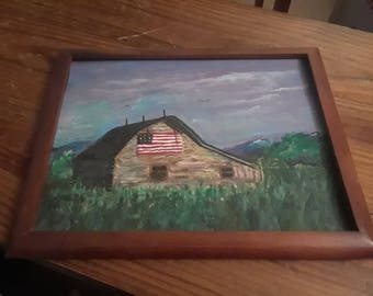 Painting of a Barn with an American Flag