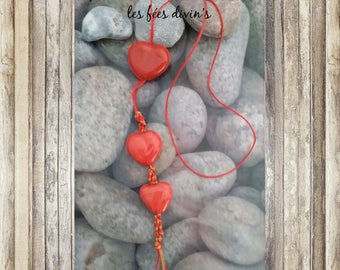 Pendants with 3 hearts in Sunset red glazed clay