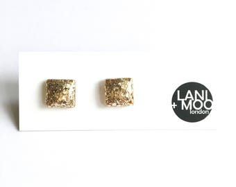 Small Square Gold Glitter Resin Statement Earrings!