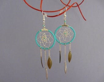 turquoise dream catcher earring