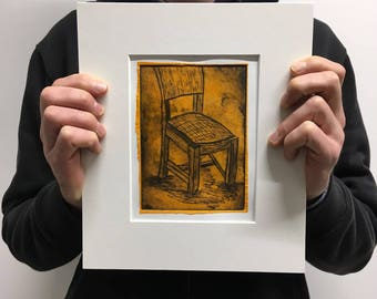 Orange Chair Chine Colle Drypoint Print One-Off