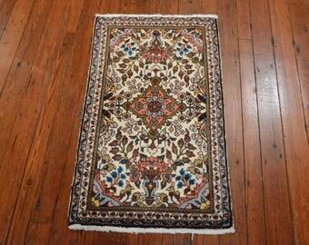 Vintage Persian Sarouk Rug, Ivory/Ivory, All wool pile