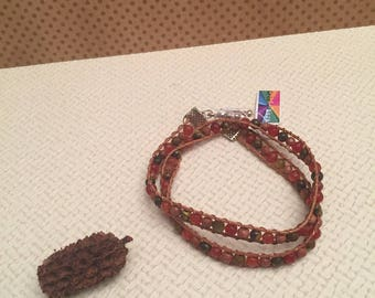 Orange brown natural gemstone Wrap bracelet