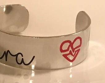 Customized medical alert cuff bracelet