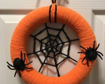 Orange Spiderweb Wreath