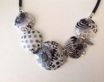 Necklace 5 lenses with white polymer clay / grey and silver charms