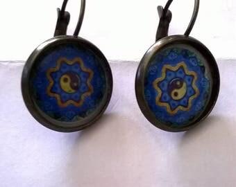 bronze earrings cabochon blue and yellow mandala sleeper