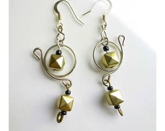 Earrings * METAL KADO * gold and silver beads suspended on silver circles