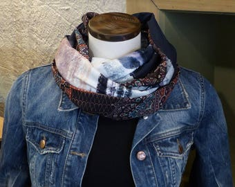 FX107 snood scarf tissue fluid jersey fabric and black print black pink green light patterns