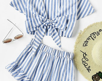 Co-ord Top And Ruffle Shorts Set