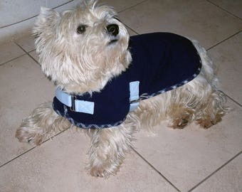 Thick blue dog fleece coat and écossai