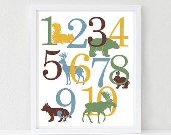 Woodland Number Poster, Nursery Art Print, 123 Kids Wall Art, Deer, Bear, Fox, Moose, Woodland Nursery Art, Kids Woodland Bedroom Decor