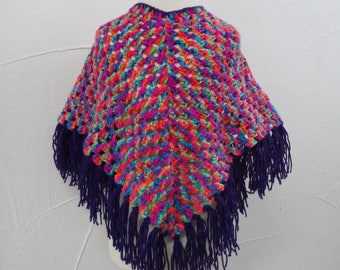poncho child multicolor with purple fringe (3 to 6 years)