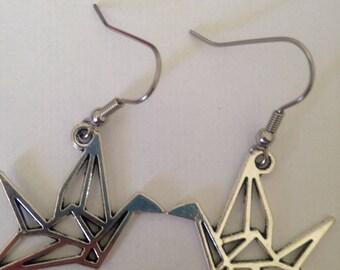 Cranes origami earrings