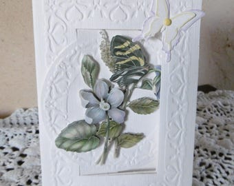 Card embossed flowers and Butterfly pattern