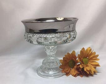 King's Crown Thumbprint Footed Compote Candy Dish Silver Rim