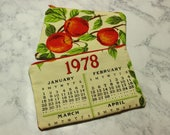 Calendar Towel Zip Bag Zipper Pouch 1978 January February November December Birthday Gift Lined CHOICE OF Makeup Pencil Cosmetic Fruit Multi