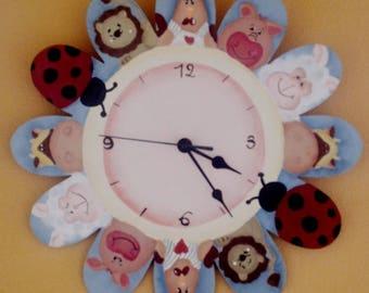 Handpainted wooden wall clock for children
