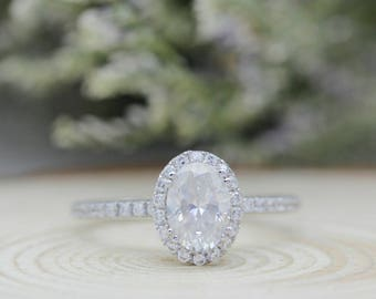 Oval Cut Moissanite 1CT-5x7mm Halo Accents 14K White Gold Engagement Ring