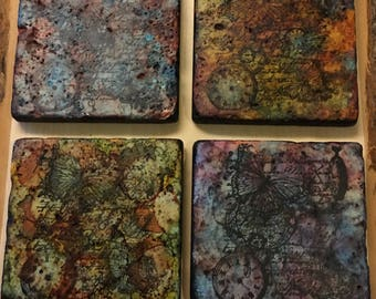 Steam Punk stained Travertine Coasters