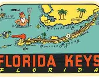 Vintage Style Florida Keys map Key West Islamorada  Travel Decal sticker