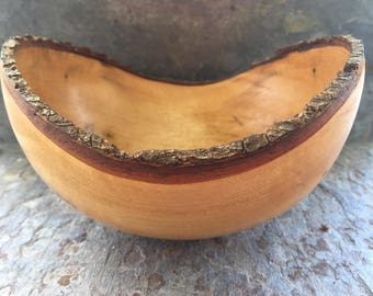 Wood bowl handmade out of myrtle signed and dated 1991