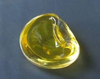 Yellow Murano Art Glass Bowl.