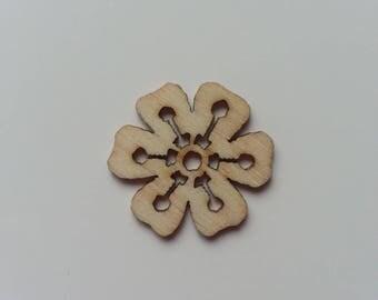 fleur  en bois  naturel 30mm