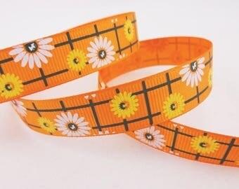 Orange Ribbon checked flowers (x 1 meter)