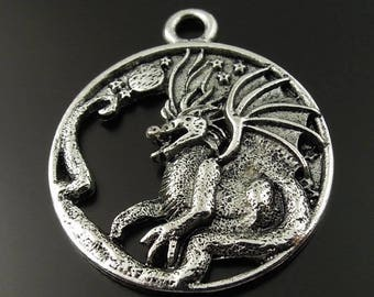 Dragon (x 1) antique metal Locket charm/pendant