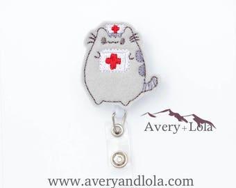 Fat Cat Nurse Badge Reel, Animal Badge Reel, Fat Cat Nurse Holder, Animal ID Holder, Teacher Gift, Nurse Gift, Cute Badge Reel
