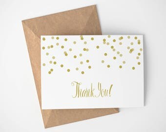 Gold Polka Dots Thank You Card | Any Occasion - Gold - Thank you cards - Simple - Thanks - Thank You - Greeting Cards