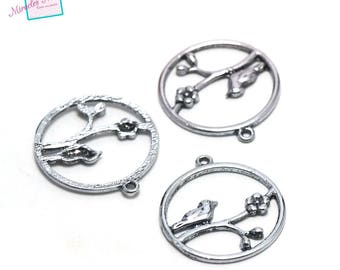 """4 charms """"nature bird"""" 29 x 32 mm, silver, 090 has"""