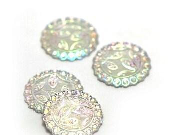 4 cabochon embellishment craft 24 mm round white