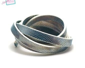 """1 m strap leather 10 x 2 mm, doubled blue """"diamond"""""""