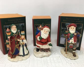 Set of 3 Vintage May Department Stores Santas From Around the World - Scandinavian, American and Scottish