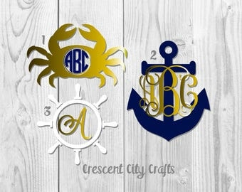 Nautical decals, beach monogram decals, crab decal, anchor decal, ship wheel decal, summer decals, yeti decal