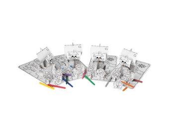 4 sets pirate en carton à construire et à colorier avec 12 feutres / Kit créatif DIY pour enfant / Coloriage anniversaire enfant