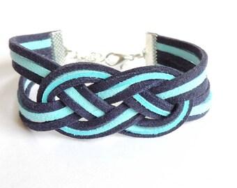 Celtic knot two-tone blue appearance suede suede bracelet