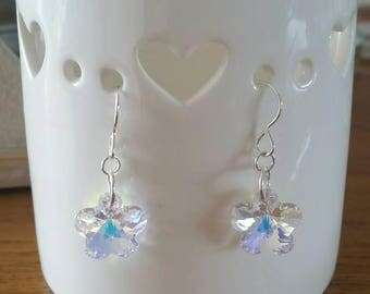 Sterling Silver Swarovski Flower Earrings