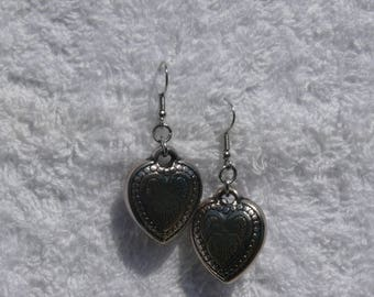 earring and silver heart