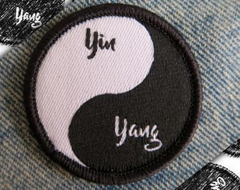 Yin Yang Patch with Words - Iron On / Sew On