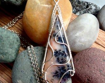 Handwoven Fine Silver Dendritic Opal Pendant