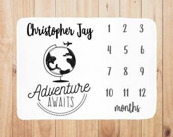 Adventure Awaits Baby Milestone Blanket, Personalized Baby Blanket, Month Baby Blanket, Baby Boy Blanket, Baby Shower Gift, Newborn