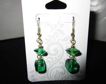 Green Glass Beaded Earrings