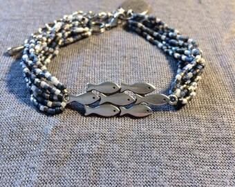 Bracelet beads * blue * gray * white * charms