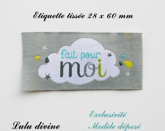 Woven - label made for me - 28 x 60 mm, grey cloud
