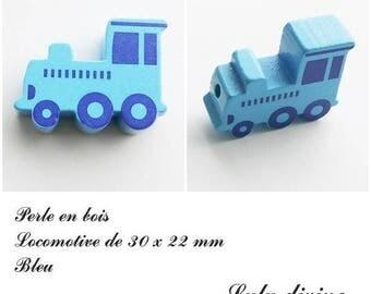 30 x 22 mm wood bead, Pearl flat Train / Locomotive: Blue