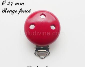 Clip / wooden pacifier Clip, Ø 37 mm from loop: dark red